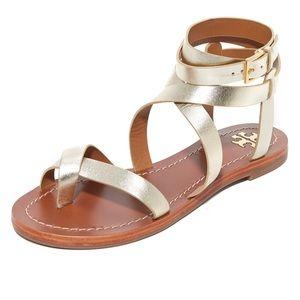Tory Burch Spark Gold strap gladiator sandals 6